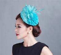 Sombrero Sinamay Fascinator Flor de la Pluma Del Pelo Clip de Las Mujeres Headwear Sombreros Tocados de Novia de la Boda Accesorios Nupciales Del Pelo Para La Fiesta C