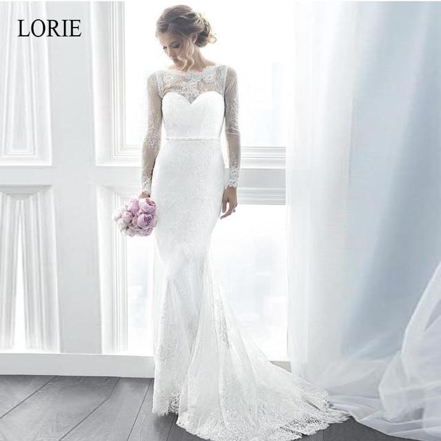 LORIE White Mermaid Wedding Dresses 2019 vintage Lace Appliques Bride Dress Long Sleeve robe de mariee Illusion Wedding Gowns