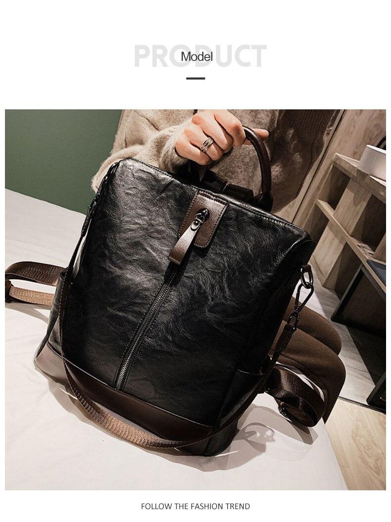 HTB1LLEbboLrK1Rjy1zbq6AenFXaa Fashion Women High Quality Leather Backpack Multifunction Leatherett Backpack For Female Big Bookbag Travel Bag Sac A Dos XA279H
