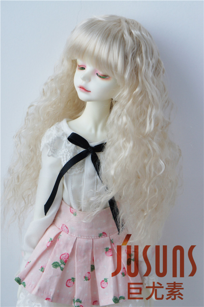 """MSD 1//4 BJD Doll Hair 7-8/"""" Synthetic Mohair Long Wave Pony Doll Wigs 4 Colors"""