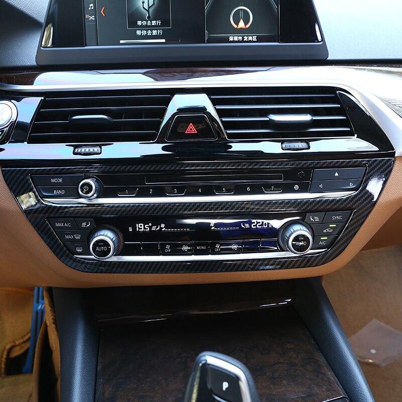 Carbon fiber Style For BMW New 5 Series G30 2017 2018 Car ABS Plastic Chrome Interior Center AC Frame Cover Trim Accessories