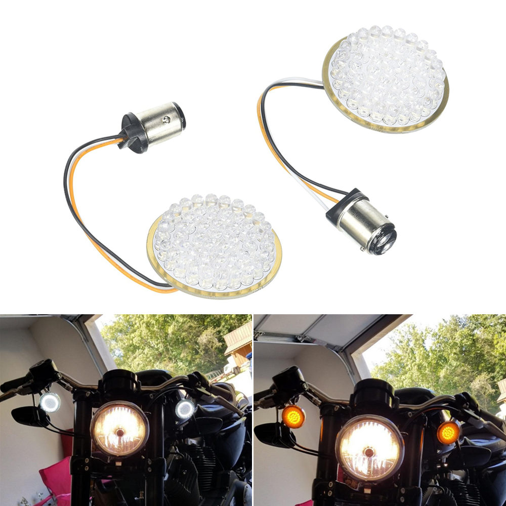 Higher brighter Led Turn Signal Inserts 1157 50MM 2 Bullet Style For Iron 883 Sporster white ring amber turn signalHigher brighter Led Turn Signal Inserts 1157 50MM 2 Bullet Style For Iron 883 Sporster white ring amber turn signal