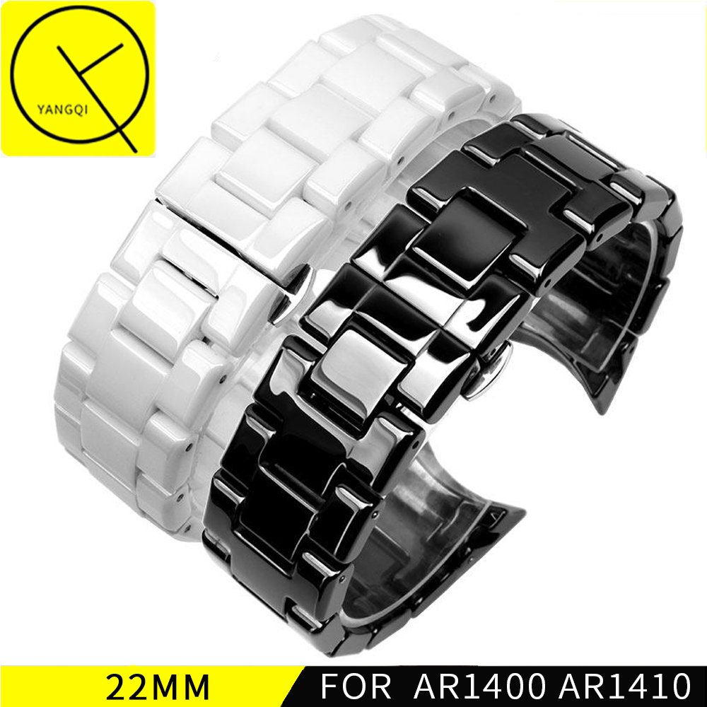 YQ Curved End Ceramic Watchband Steel for Armani 22mm AR1400 AR1410 Man Watch Bracelet Butterfly Buckle Strap Accessories 18mm primary colours pupil s book level 4 primary colours page 6