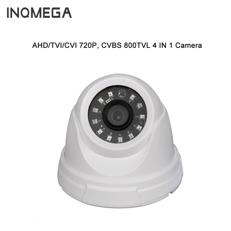 INQMEGA 720P Plastic Camera New AHD/TVI/CVI/CVBS IR Dome Camera Cheap With IR CUT OSD White AHD IP Camera 2mp 1080p surveillance ptz ir speed dome camera 10x optical zoom cvi ahd tvi cvbs osd menu transfer hd coaxial control rs485