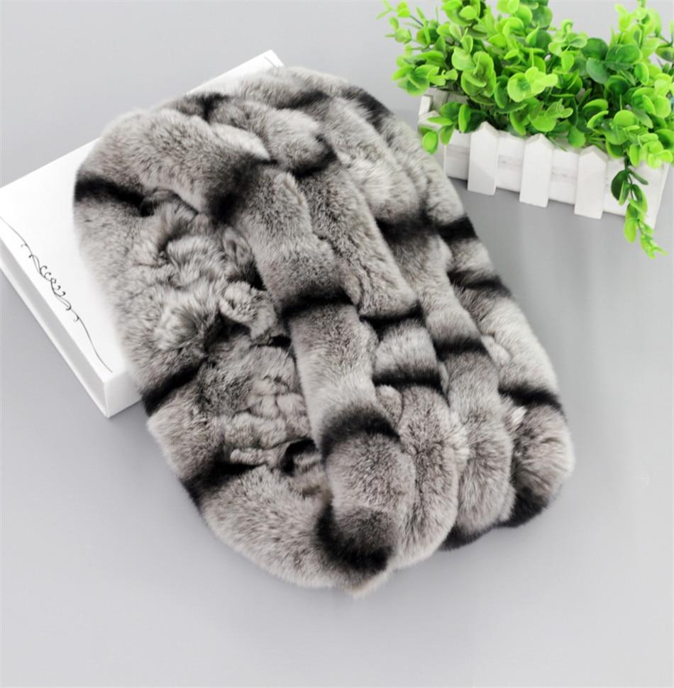 Unisex Real Rex Piel de conejo Bufanda infinita hecha a mano Bufandas Bufandas sin fin Capucha