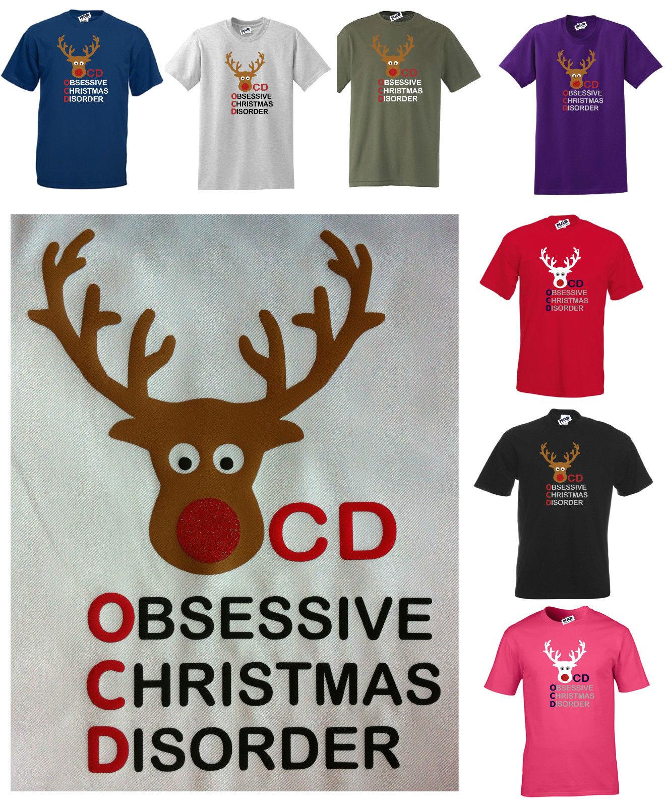 OBSESSIVE CHRISTMAS DISORDER / OCD FUNNY T SHIRT GLITTER REINDEER ...