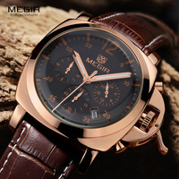 Free Shipping Megir Male Fashion Quartz Watch Waterproof Wristwatch Large Dial Genuine Leather Band Wrist Watch
