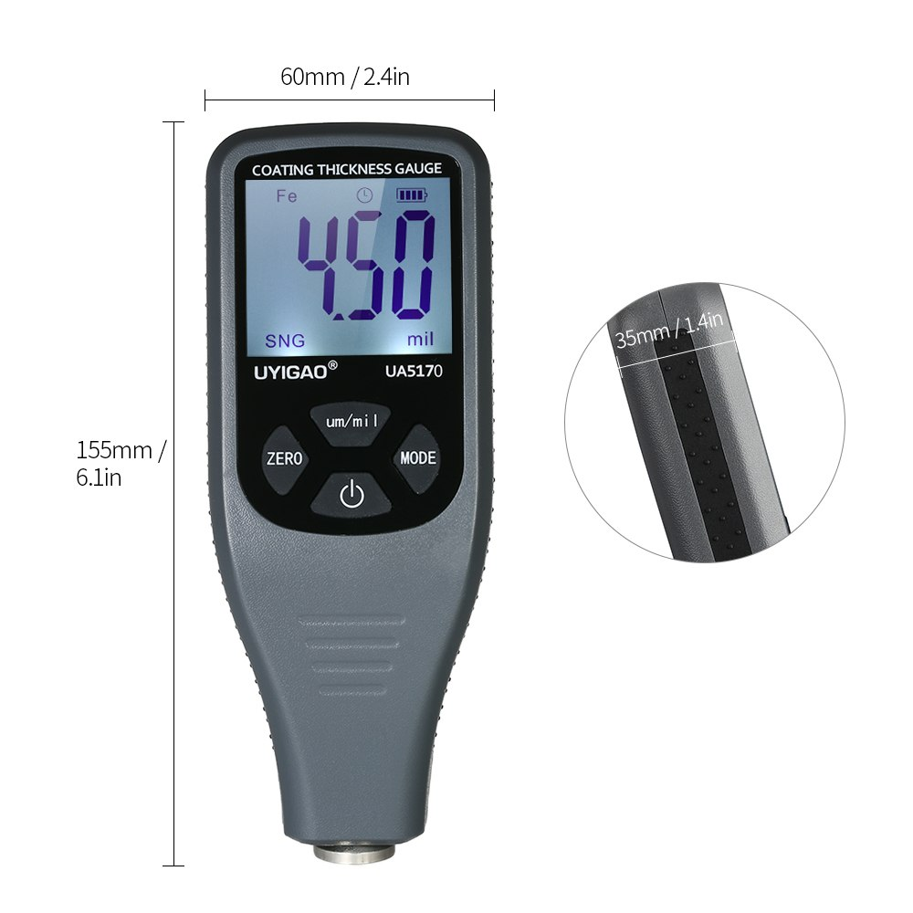 UYIGAO Digital Coating Paint Thickness Gauge Meter for Car Automotive with Backlight LCD Display