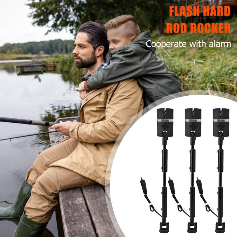 3pcs Fishing Alarm Assembly With Adjustable Flash Hard Rod And Swing Stick With 7 Color Indicator