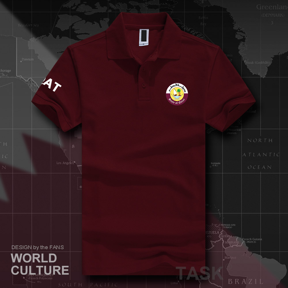 State of Qatar   polo   shirts men short sleeve white brands printed for country 2018 cotton nation team flag fashion casual QAT 20