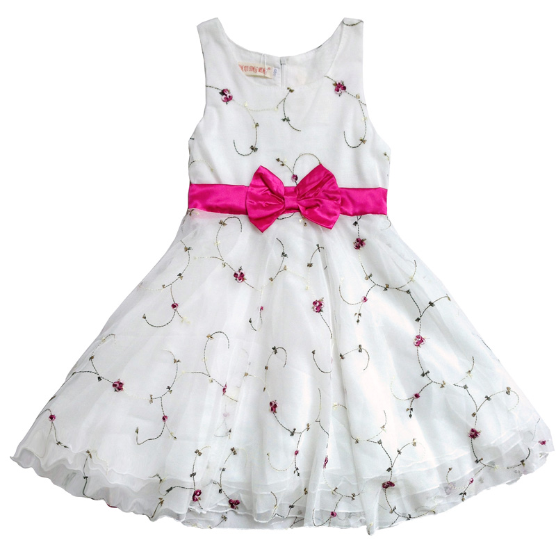 Pink Red White Purple Dress 2018 New Summer Girls Clothes Baby Girls Dress Party Dresses Children Clothing for 3-7 Years hot sale fashion baby girls dress small jacket flower lace tutu princess party dress pink white red purple children clothing