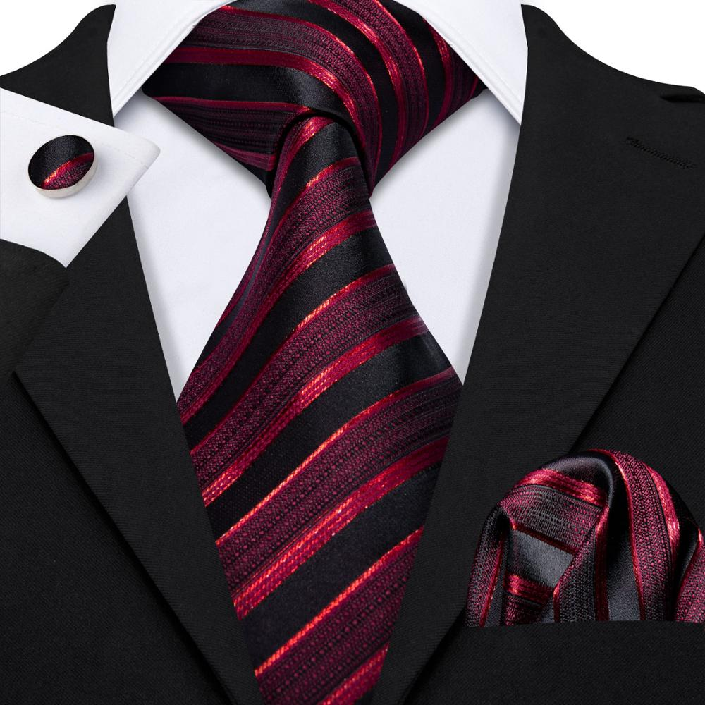 New Male Luxury Neck Ties For Men Business Red Striped Silk Tie Handkerchief Set Barry.Wang Fashion Design Men Neck Tie DR-5022