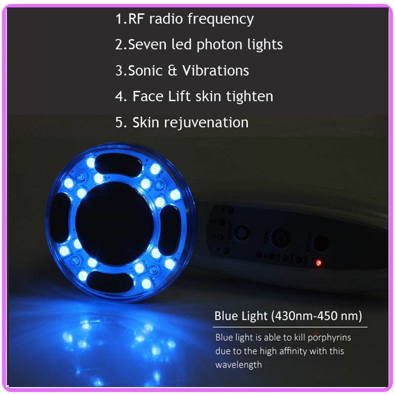 Portable Mini RF Radio Frequency Skin Tightening Lifting Wrinkle Removal Facial Beauty Massager With 7 Color Photon Therapy therapy led photon rf radio frequency thermage face lifting beauty machine wrinkle removal skin tightening body facial massager
