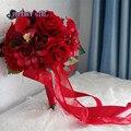 Искусственный букет красный букет свадебный рамо novia букет флер mariage bruidsboeket свадебный букет невесты цветы