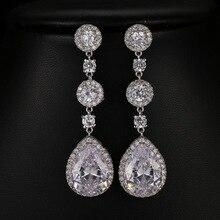 Gorgeous Rose Gold Pave Setting AAA Grade Cubic Zirconia Earring Dangle Bridal Wedding CZ Earrings Girls Fashion Daily Earring