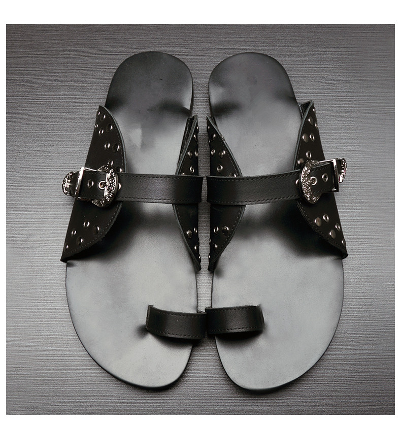 Studs Mens Genuine Leather Cool Sandals Flats 2018 Black Sandals Flip Flops Genuine Leather Man Casual Slippers Shoes Size43 - 5