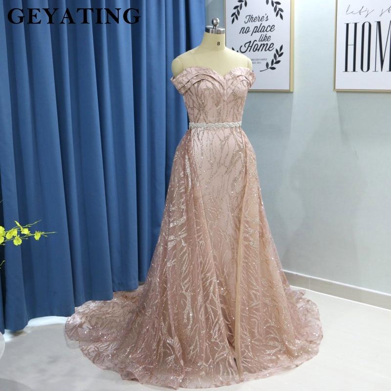 Sparkly Rose Gold Long Sleeves Mermaid Evening Dress With Detachable Train Dubai Kaftan Moroccan Arabic Prom Formal Dresses 2019
