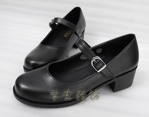 Japanese School Students Uniform Shoes Uwabaki JK Round Toe Buckle Trap Women Girls Lolita Retro Black Cosplay Med Heels K13