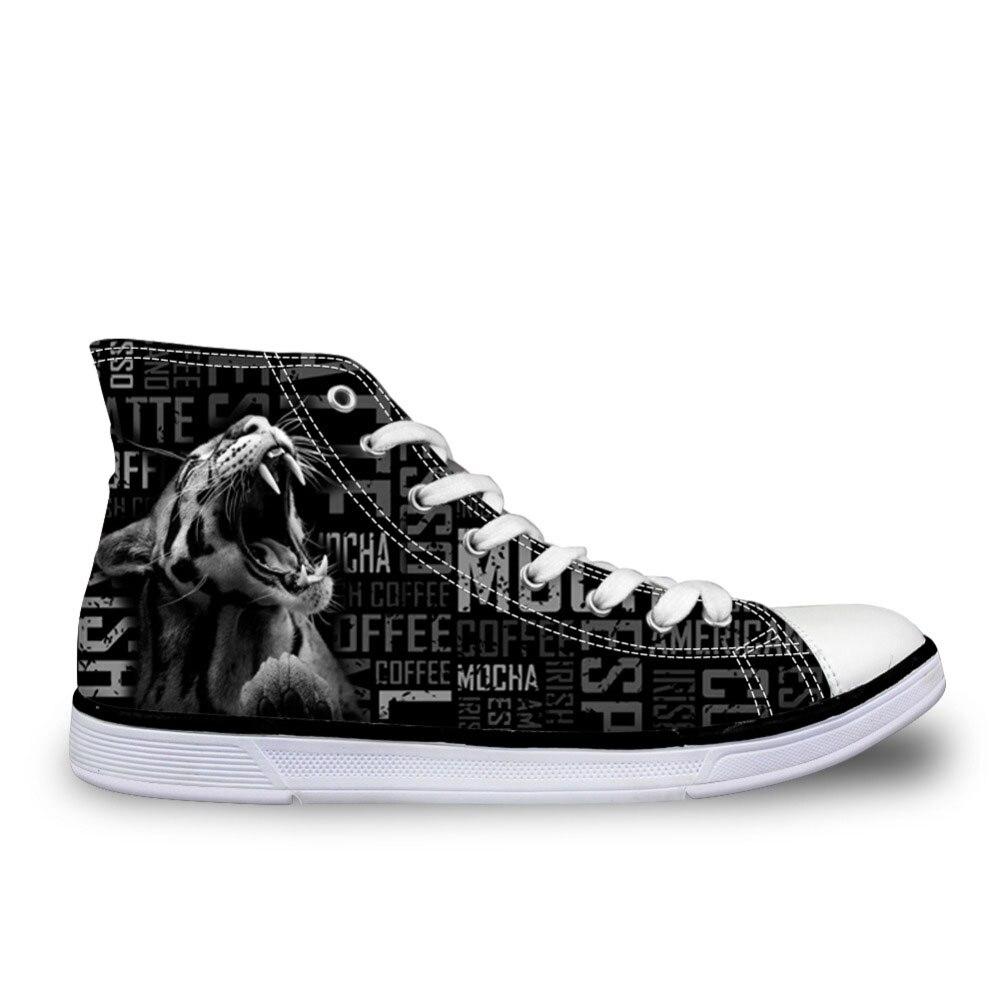Nouveauté chaussures homme féroce motif tigre vulcaniser chaussures lettre noir appartements toile hommes chaussures baskets montantes