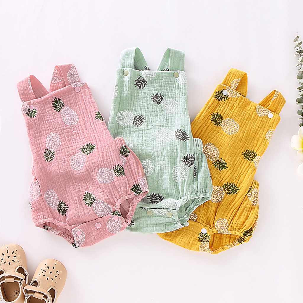 New born Baby Girl Summer Clothes 3M-18M toddler girl Pineapple Print Sleeveless Linen   Romper   Outfits ribbed baby clothes