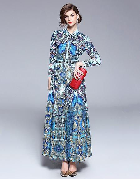 d95e9928d3966 🛒 Designer Runway Dresses 2018 Women High Quality Printed Vintage ...