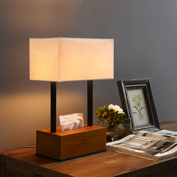 Modern Bedside Lamps With Wood Tissue Box For Bedroom Living Room Decoration Night Light Black Metal Table Lamps Two E27 Base