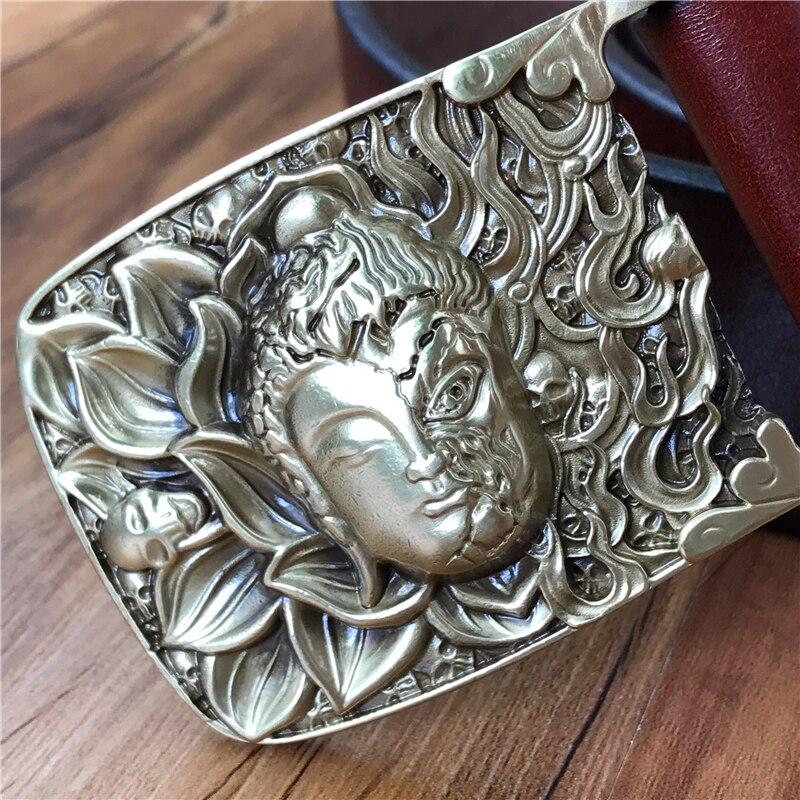 Brass Buddha Belt Buckle Genuine Leather Men Belt Cinturon Hombre Riem Leather Belt Men Waist Belt