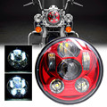 """Newest Red Motos Accessories 5 3/4"""" headlight motorcycle 5.75"""" led headlamp for Harley Softail Motorcycle Red Projector Daymaker"""