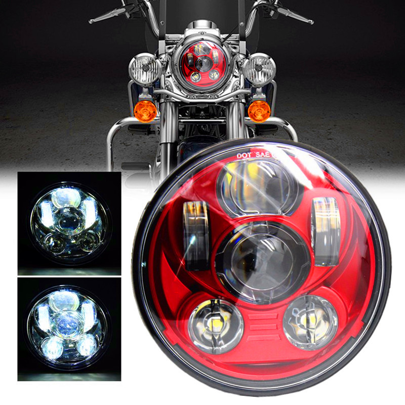 Newest Red Motos Accessories 5 3/4 headlight motorcycle 5.75 led headlamp for Harley Softail Motorcycle Red Projector Daymaker