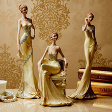 3 Different Styles Resin Graceful Lady Figurine Girl Modern Statue Sculpture Ornament Home Wine Cabinet Living Room Decor