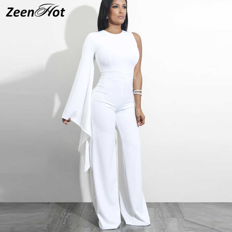 ee59ffb092c3 Women Fashion Irregular Jumpsuit Solid One Shoulder Long Sleeve Slim  Overall Bodycon Summer Sexy Party Rompers