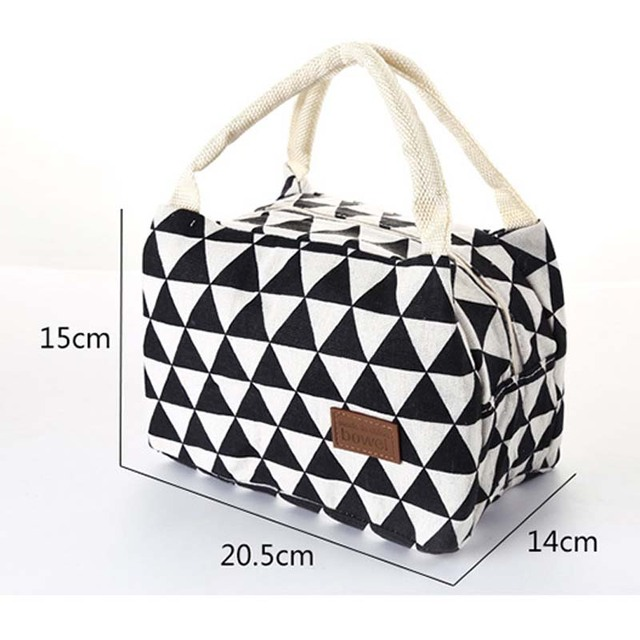 Portable Mummy Lunch Warm Bag Canvas Stripe Bag Thermal Insulation Bags Travel Picnic Food Lunch Box Bag for Baby Kids Girls