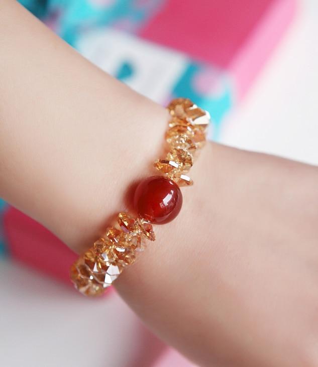 Super Flash autriche importé cristal Bracelet femme naturel rouge pierre Bracelet coréen Vintage Boho Simple filles cadeau d'anniversaire