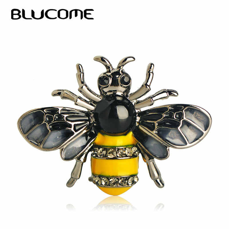Blucome Fashion Small Animals Bees Shape Brooch Pin Crystal Enamel Jewelry Women Kids Banquet Party Shirts Collars Corsage Gifts