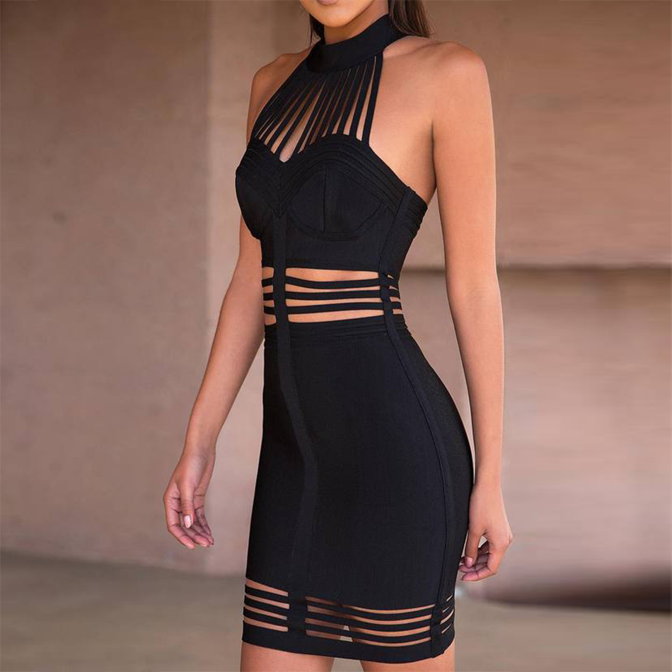 Seamyla New Black Red Hollow Out Club Evening Party Dresses Vestidos Women Sexy Sleeveless Strips Bodycon