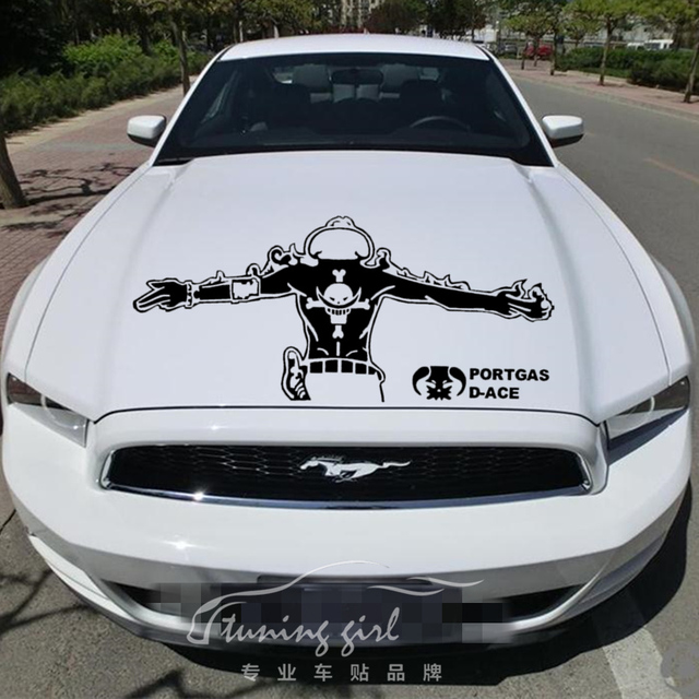 Car Stickers ONE PIECE PORTGAS D-ACE Pirate Cartoon Decals Waterproof Auto Tuning Styling 50*22cm & 100*44cm D20