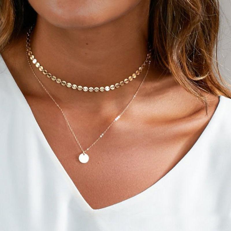 Богемное многослойное чокер с цепочкой ожерелье золотистого