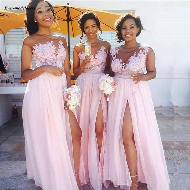 Pink Chiffon Beach   Bridesmaid     Dresses   2019 Sheer Neck Appliques A Line Side Split Long Wedding Guest Party Gowns Cheap Custom