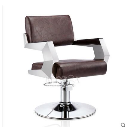 Hair salon personalized hair chair. Hydraulic chair. Adjustable chair. Stainless steel handrail.. the silver chair