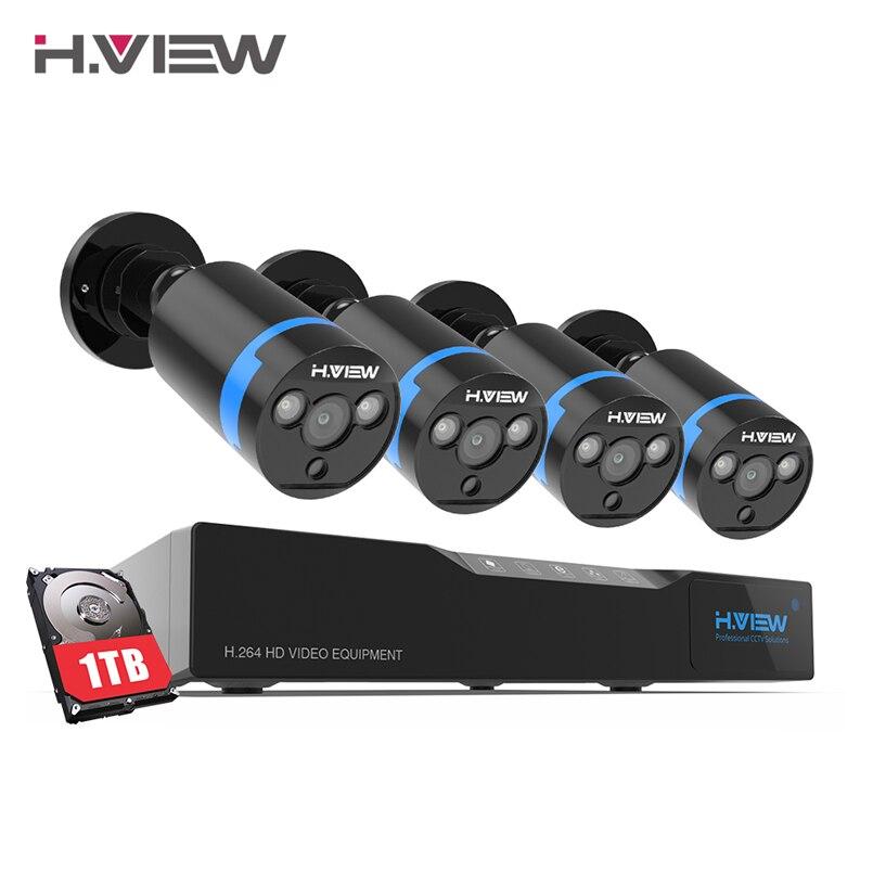 H. vue 16CH Surveillance Système 4 1080 p Sécurité Extérieure Caméra 1 tb HDD 16CH CCTV DVR Kit Vidéo Surveillance Facile vue à distance