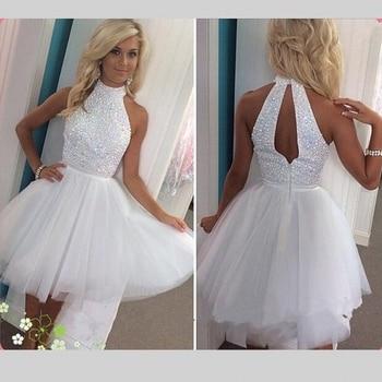 fb88fe20c6be6 BONJEAN Beyaz Tül Kısa Mezuniyet Elbiseleri 2019 Mini Halter Mezuniyet Balo  Elbise Bling Kristal Boncuk Backless Kokteyl Elbisesi