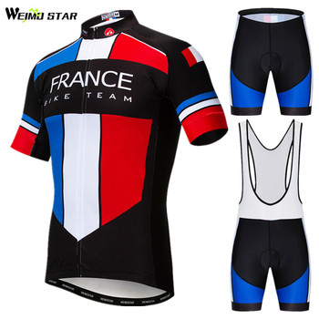 Weimostar Frace USA UK Team Cycling Clothing Summer Pro Cycling Jersey Set Men Mountain Bike Clothing Uniform Bicycle Wear Roupa image