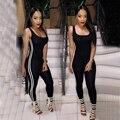 2016 Новая Мода Черный Женщин Комбинезон Сексуальный Эластичный Бинт Bodycon Боди Тощие Ползунки Повседневная Фитнес Комбинезоны Macacao