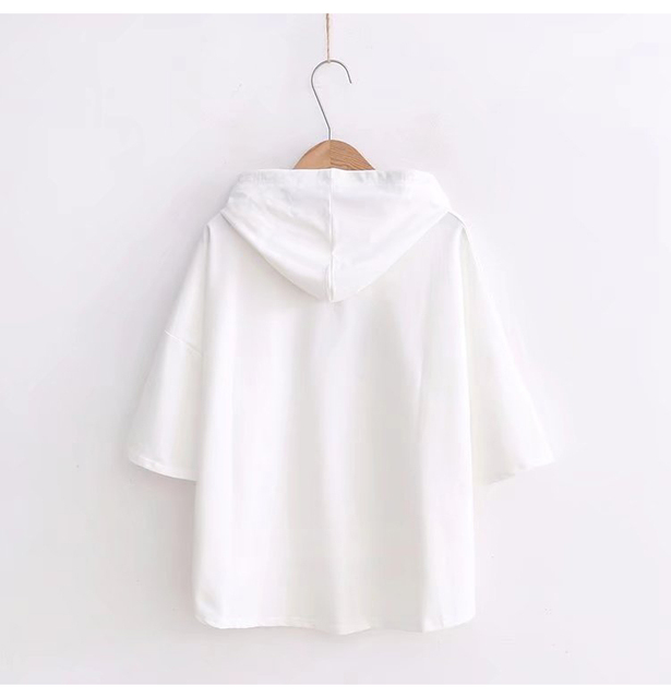 Ulzzang Harajuku hoodies Fashion BTS Kpop Clothes Women Casual Hooded Sweatshirts Pullovers Tops Short Sleeve Hoodie