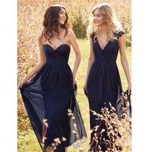 2017 New Mix Order Navy Blue Chiffon Long Bridesmaid Dress V Neck Lace Top Ruched Floor Length Formal Party Maid Of Honors Party