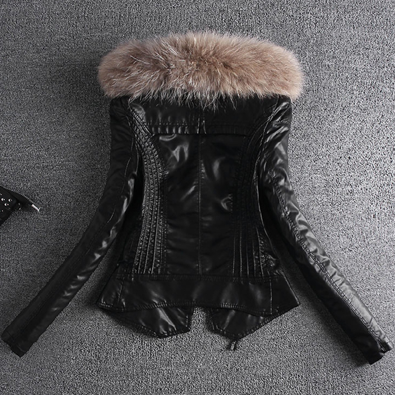2019 Spring Autumn Fur Coat   leather   Jacket Women Black women's slim short motorcycle PU   leather   jackets ladies Clothing Fashion