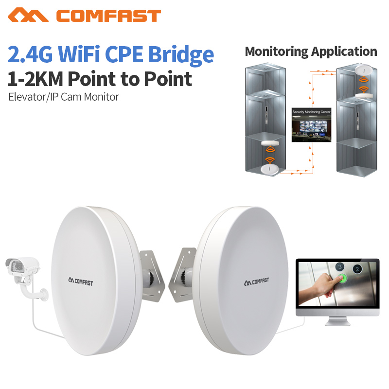 1-2KM 2.4GHz 300Mbps Outdoor CPE Wireless WiFi Repeater Extender Router AP 48V POE Access Point Transmission Wi-Fi Bridge CPE comfast original indoor ap wi fi repeater 1200mbps wireless n router 2 4 5 8g wifi repeater bridge long range extender booster