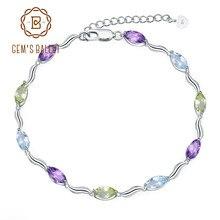 58c6c9b2d616 Joya de Ballet 925 pulsera de plata Peridot Natural cielo azul Topacio amatista  pulseras y brazaletes para las mujeres joyería f.