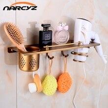 Multi function Bathroom Hair Dryer Holder Wall Mounted Rack Antique Copper Shelf Storage Organizer Hairdryer Holder
