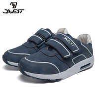 QWEST Brand Breathable Arch ZIP TPR& Lace-Up Children Sport Shoes Leather Size 32-37 Kids Sneaker for Boy 91P-XC-1350